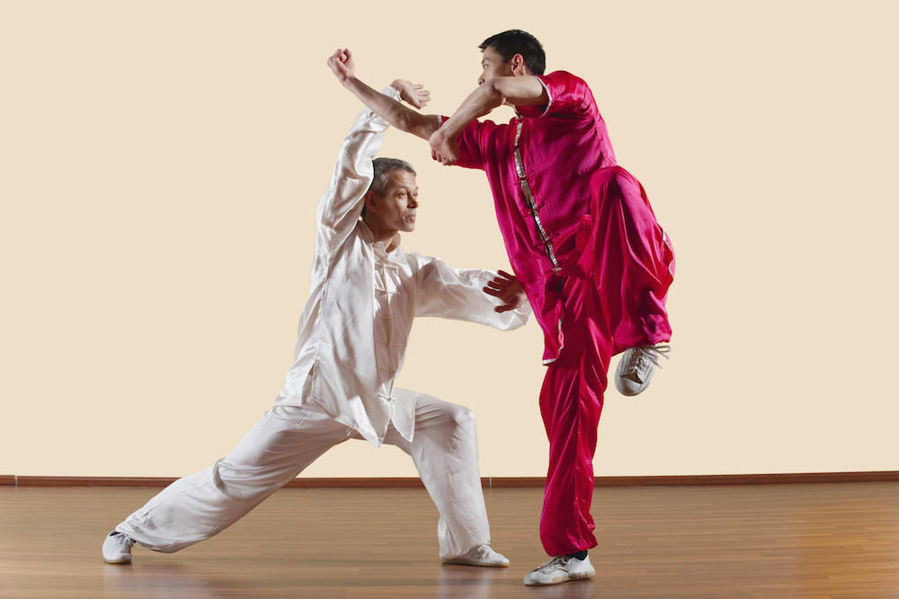 Adult Martial Artists working Kung Fu Applications in Red & White